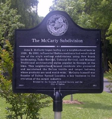 The McCarty Subdivision Marker image. Click for full size.