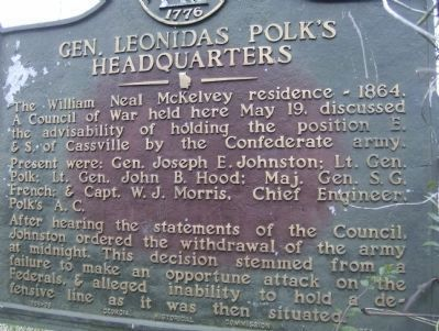 Gen. Leonidas Polk's Headquarters Marker-Closeup image. Click for full size.
