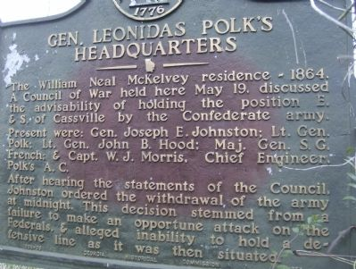 Gen. Leonidas Polk's Headquarters Marker Photo, Click for full size