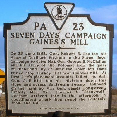 Seven Days' Campaign Marker Photo, Click for full size