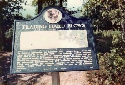 Trading Hard Blows Marker at Crest of Kennesaw Mountain on a paved trail image. Click for full size.