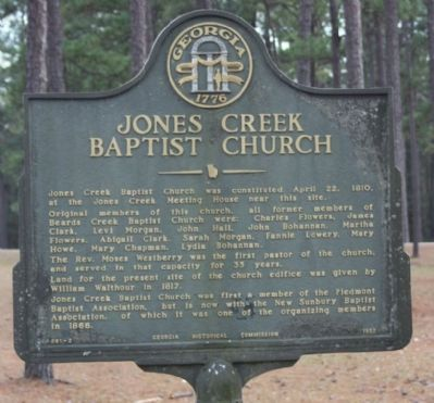 Jones Creek Baptist Church Marker image. Click for full size.