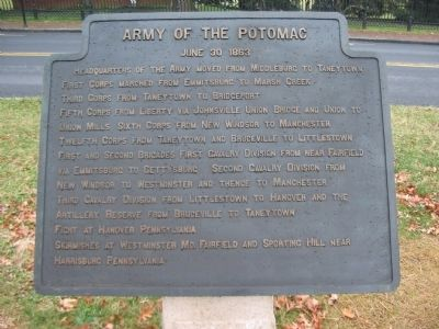 Army of the Potomac - June 30, 1863 Itinerary Tablet Photo, Click for full size