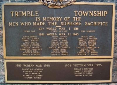 Trimble Township War Memorial Names Photo, Click for full size