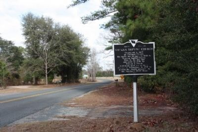 Smyrna Baptist Church Marker looking north on Bluff Rd (SC S-3-22) image. Click for full size.