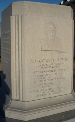 "Clark Calvin Griffith: ""The Old Fox"" Marker, south face image. Click for full size."