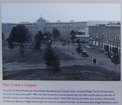 Ware Shoals Marker - The Town's Origins image. Click for full size.