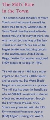 Ware Shoals Marker - Mill's Role Photo, Click for full size