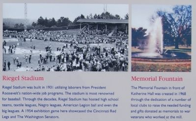Ware Shoals Marker - Riegel Stadium and Memorial Fountain image. Click for full size.