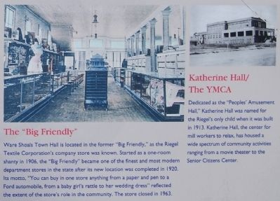 "Ware Shoals Marker - ""Big Friendly"" and Katherine Hall image. Click for full size."