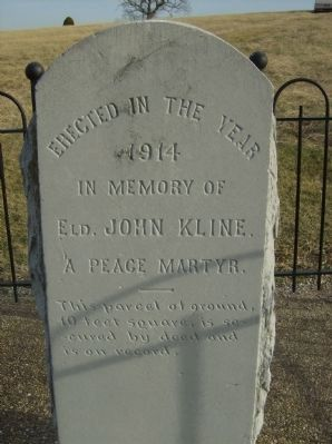 Elder John Kline Monument Marker Photo, Click for full size