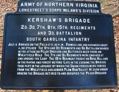 Kershaw's Brigade Tablet image. Click for full size.