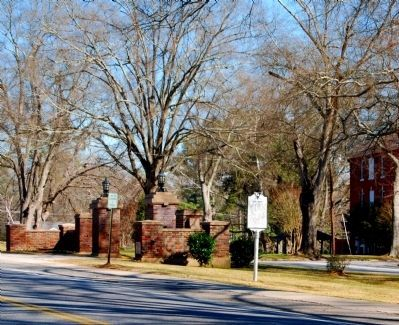 Due West Marker -<br>Looking Across Main Street<br>Erskine College Entrance (Left) Photo, Click for full size