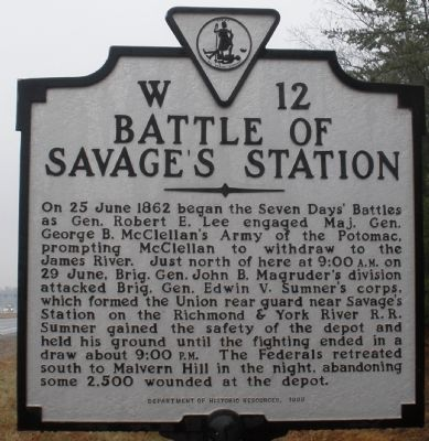 Battle of Savage's Station Marker image. Click for full size.