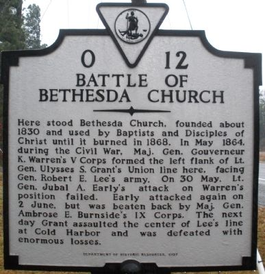 Battle Of Bethesda Church Marker Photo, Click for full size