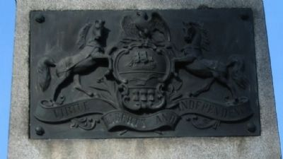 State Coat of Arms on Front of Monument Photo, Click for full size