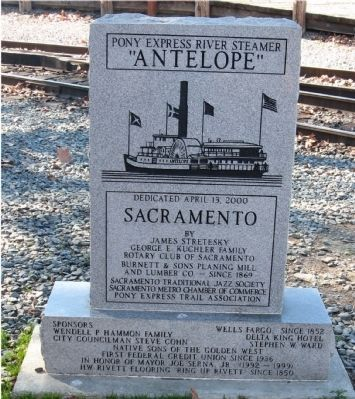 "Front of Marker - Pony Express River Steamer ""Antelope"" image. Click for full size."