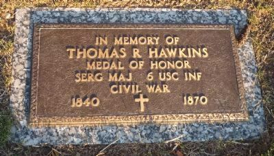 Thomas Hawkins grave marker image. Click for full size.