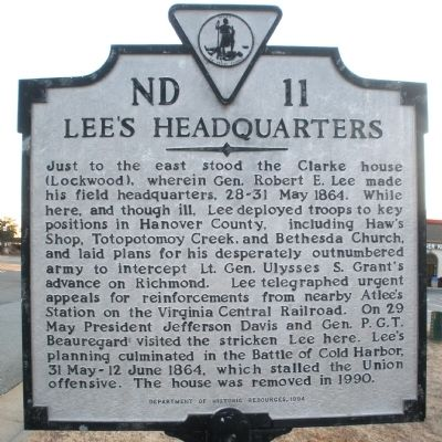 Lee's Headquarters Marker image. Click for full size.
