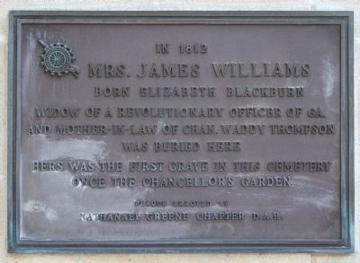 Mrs. James Williams Marker Photo, Click for full size