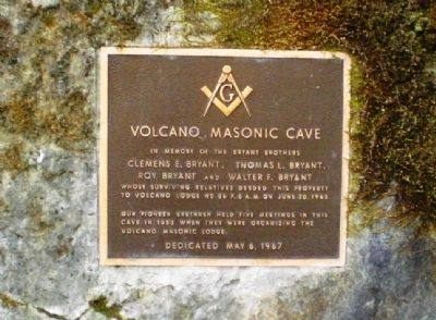 Volcano Masonic Cave Marker Photo, Click for full size
