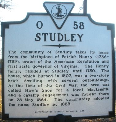 Studley Marker Photo, Click for full size