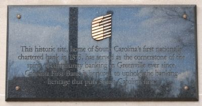 South Carolina's First National Bank Marker image. Click for full size.