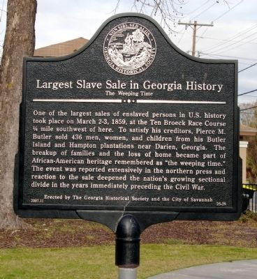 Largest Slave Sale in Georgia History Marker image. Click for full size.