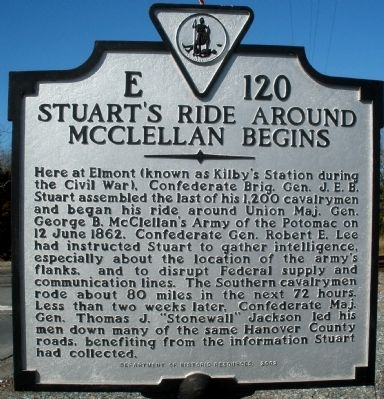 Stuart's Ride Around McClellan Begins Marker image. Click for full size.