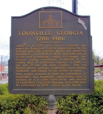 Louisville, Georgia Marker image. Click for full size.