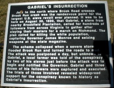 Gabriel�s Insurrection Marker Photo, Click for full size