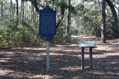 Fort Sherman Markers with walking/bicycle path in background Photo, Click for full size