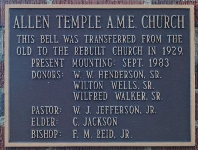 Allen Temple AME Church Bell Marker image. Click for full size.