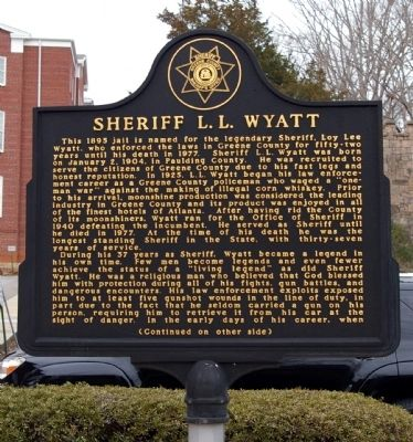 Sheriff L. L. Wyatt Marker Photo, Click for full size