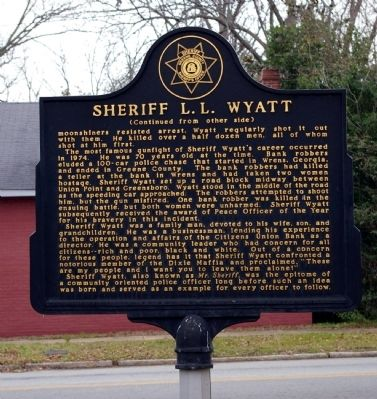 Sheriff L. L. Wyatt Marker (Reverse side) Photo, Click for full size