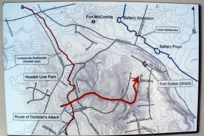 Route of Dantzler's Attack on Fort Dutton. image. Click for full size.