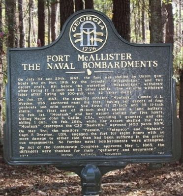 Fort McAllister Naval Bombardments Marker image. Click for full size.
