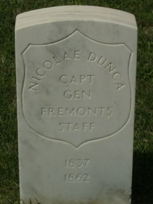 Grave of Capt. Nicolae Dunka, Staunton National Cemetery image. Click for full size.