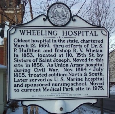 Wheeling Hospital Marker image. Click for full size.