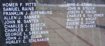 Greene County Coal Miners Memorial Names Photo, Click for full size