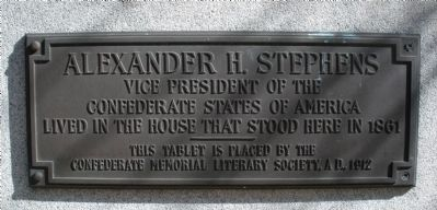 Alexander H. Stephens House Site Marker Photo, Click for full size