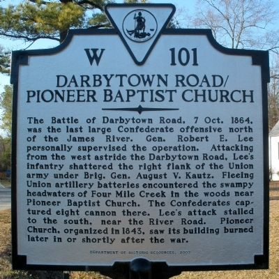 Darbytown Road / Pioneer Baptist Church Marker image. Click for full size.