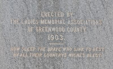 Greenwood County Confederate Monument Marker -<br>West Side Photo, Click for full size