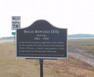 Billie Bowlegs III Marker Photo, Click for full size