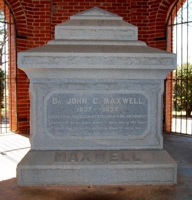 Dr. John C. Maxwell Tombstone image. Click for full size.