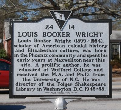 Louis Booker Wright Marker image. Click for full size.