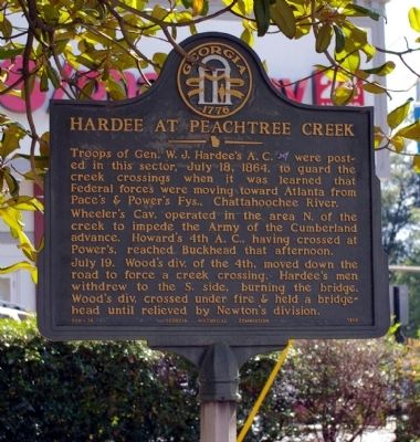 Hardee at Peachtree Creek Marker image. Click for full size.