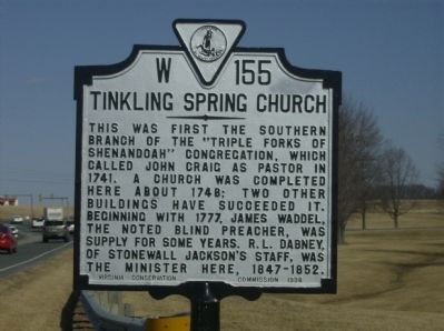 Tinkling Spring Church Marker Photo, Click for full size