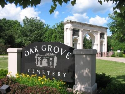 Oak Grove Cemetery Sign image. Click for full size.