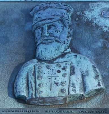 Bas relief: Commodore Percival Drayton image. Click for full size.